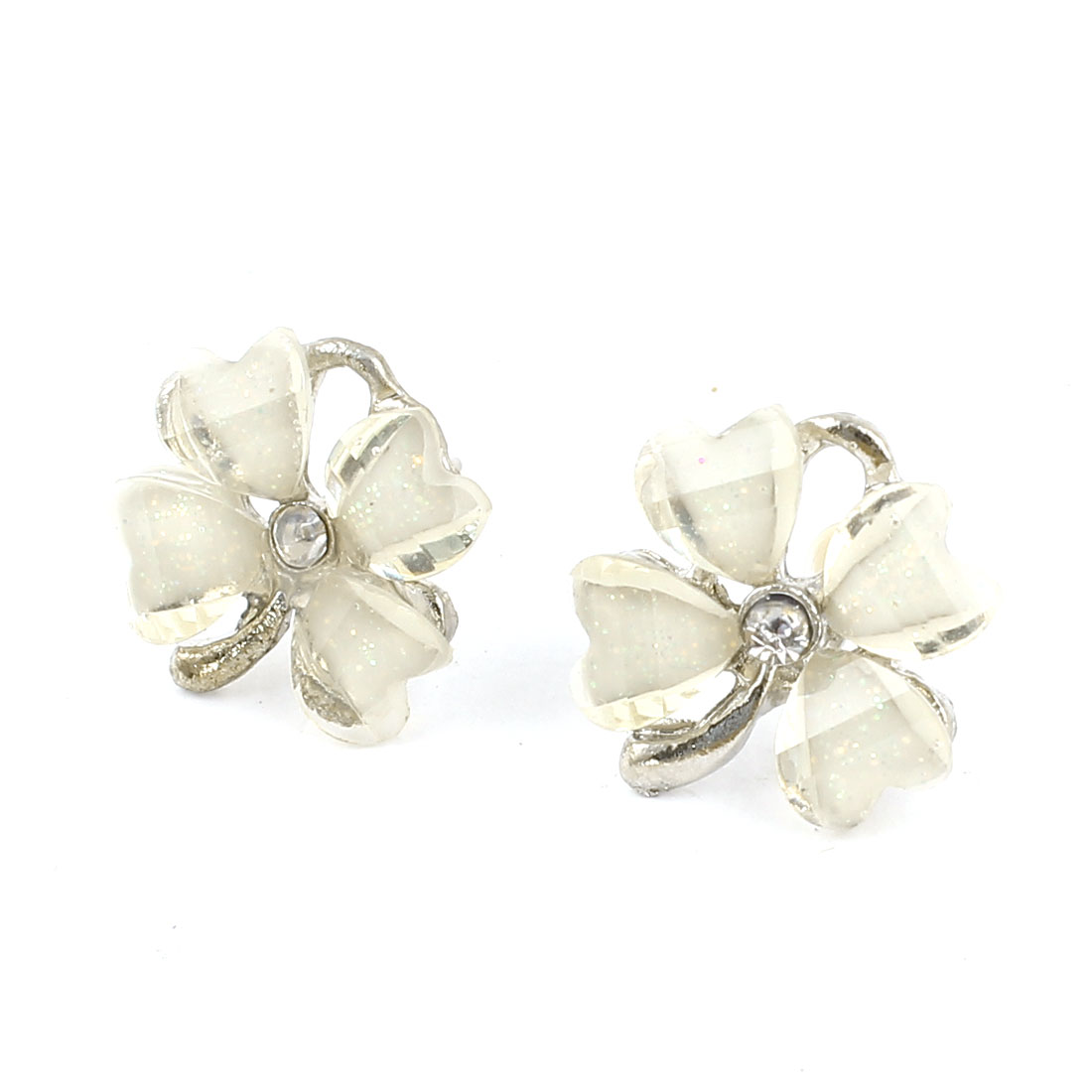 White Plastic Clover Flower Shape Rhinestone Accent Clip Earrings Pair for Women