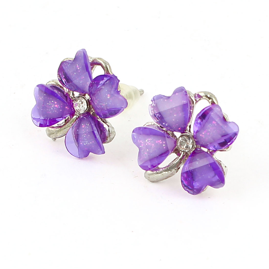 Purple Plastic Clover Flower Shape Rhinestone Adorn Stud Earrings Pair for Women