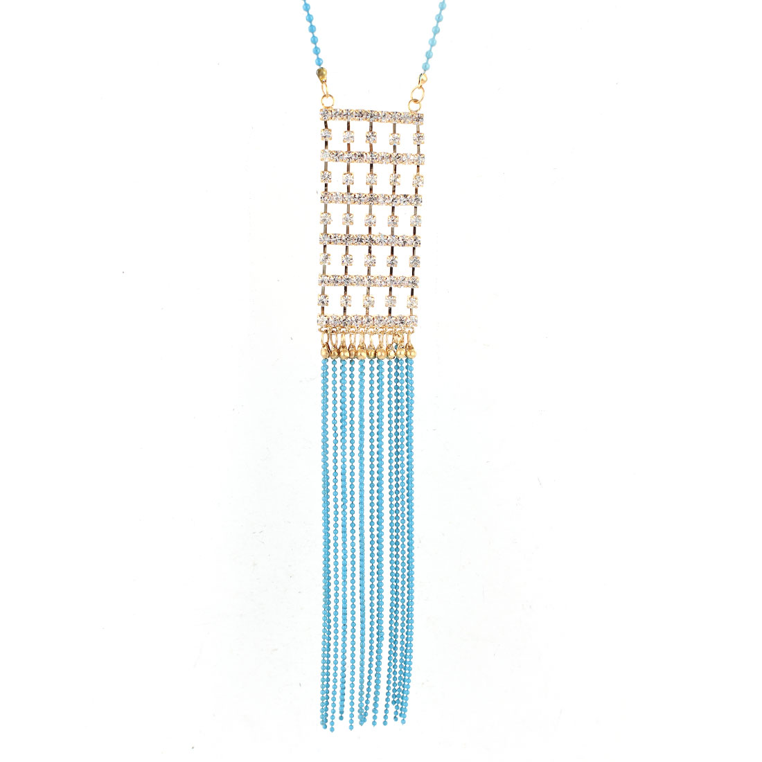 Blue Beads String Tassels Gold Tone Rhinestone Detailing Pendant Dress Sweater Necklace for Lady