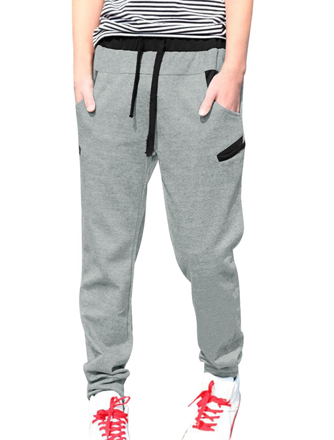 Men Stylish Elastic Waist Letter Print Back Sport Pants Light Gray W30