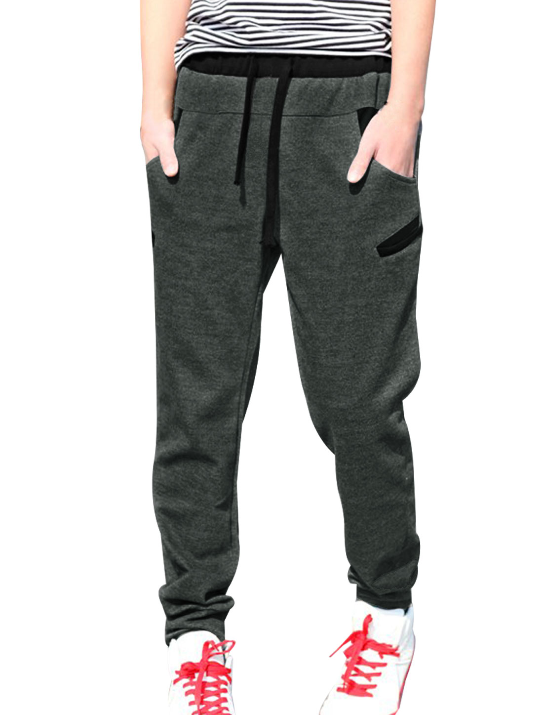 Men Leisure Newly Contrast Color Trim Letter Print Back Sweatpants Dark Gray W36