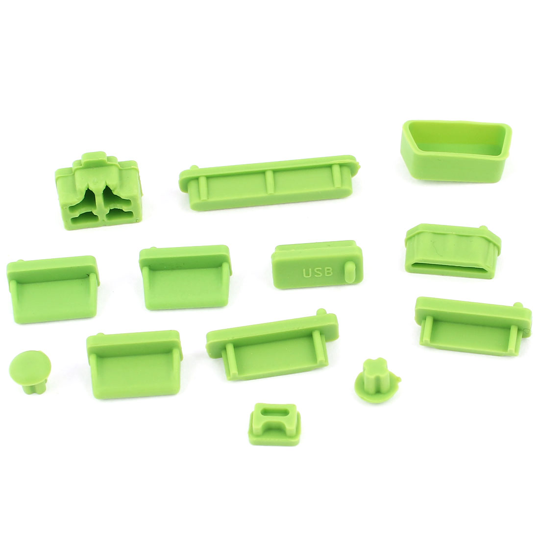 13pcs Green Silicone Anti-Dust Connector Stopper Port Cover for Notebook Laptop