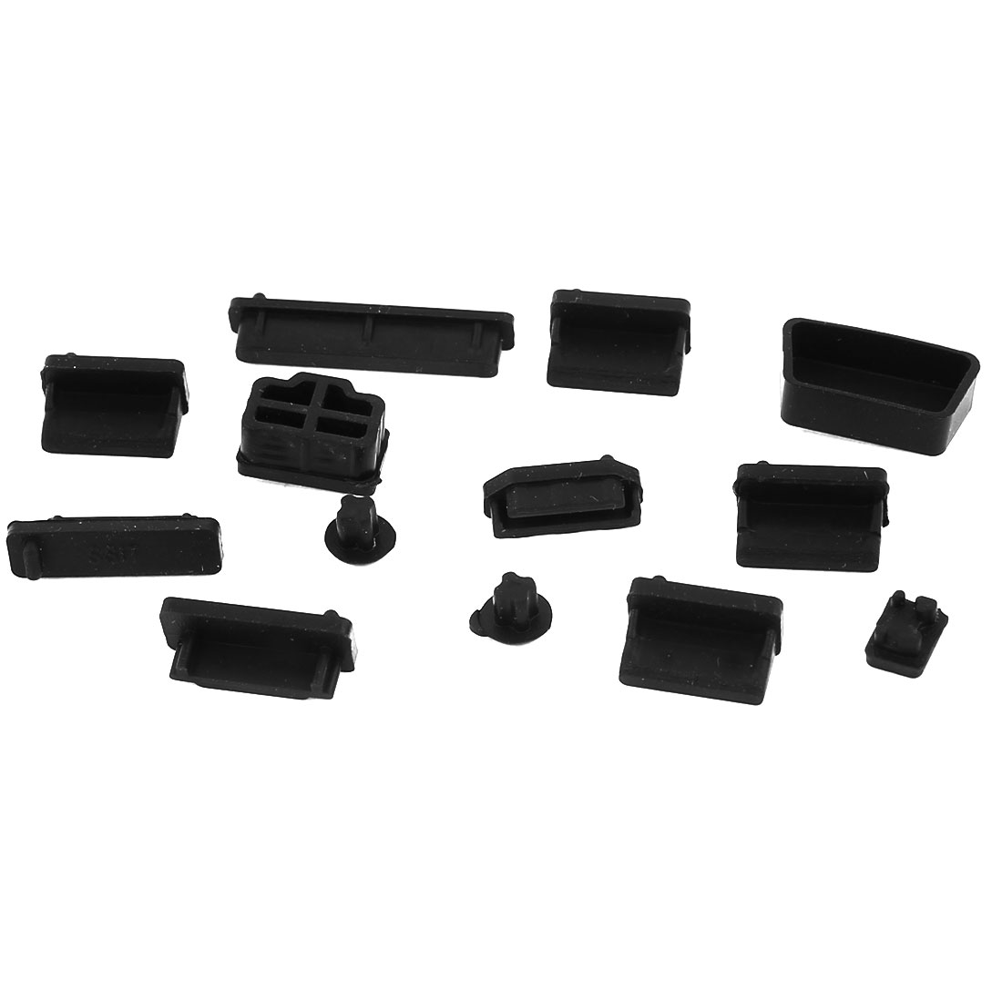 13 Pcs Protective Ports Cover Silicone Anti-Dust Plug Stopper Black for Laptop Notebook