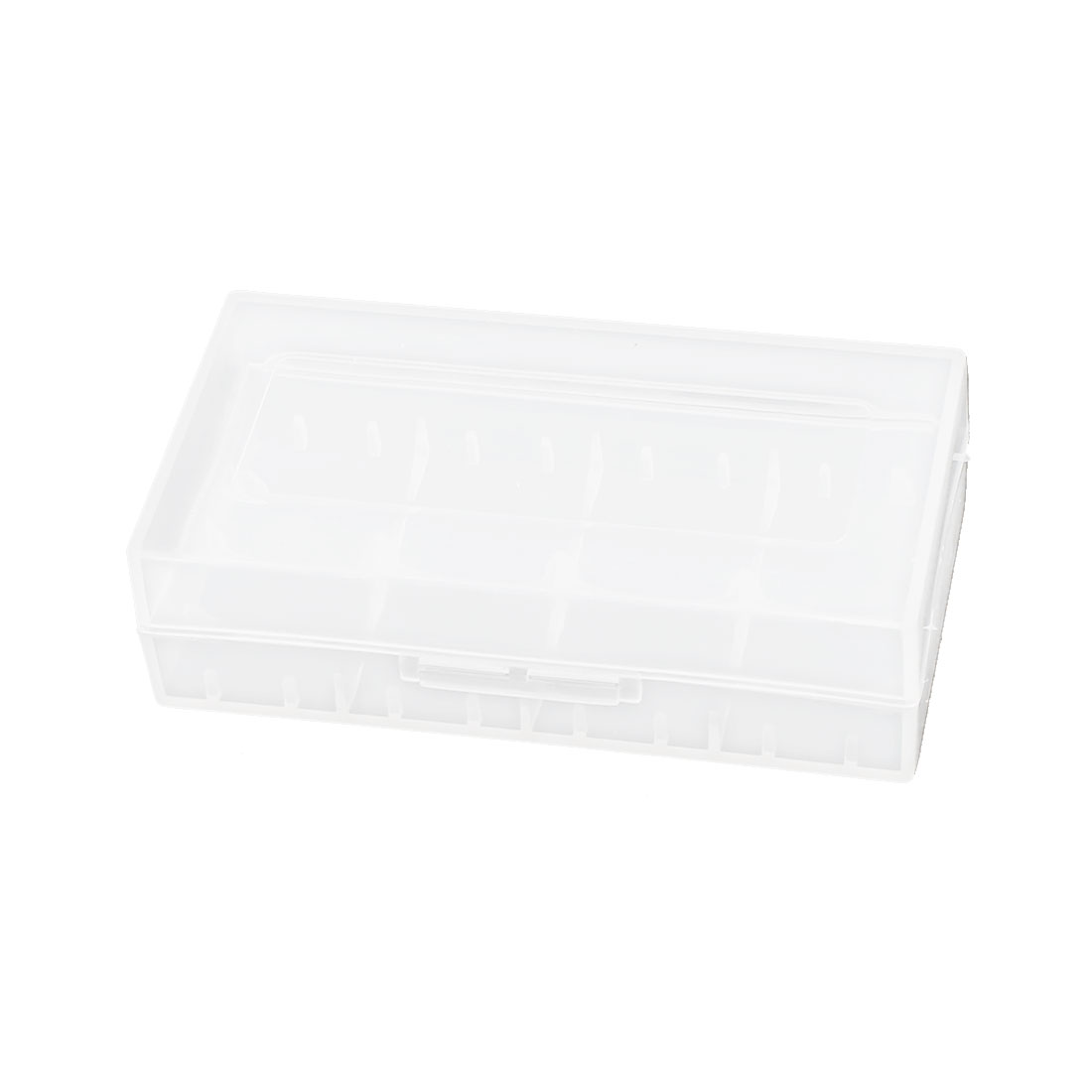 Clear White Rectangle Storage Box Case Container for 18650 Battery