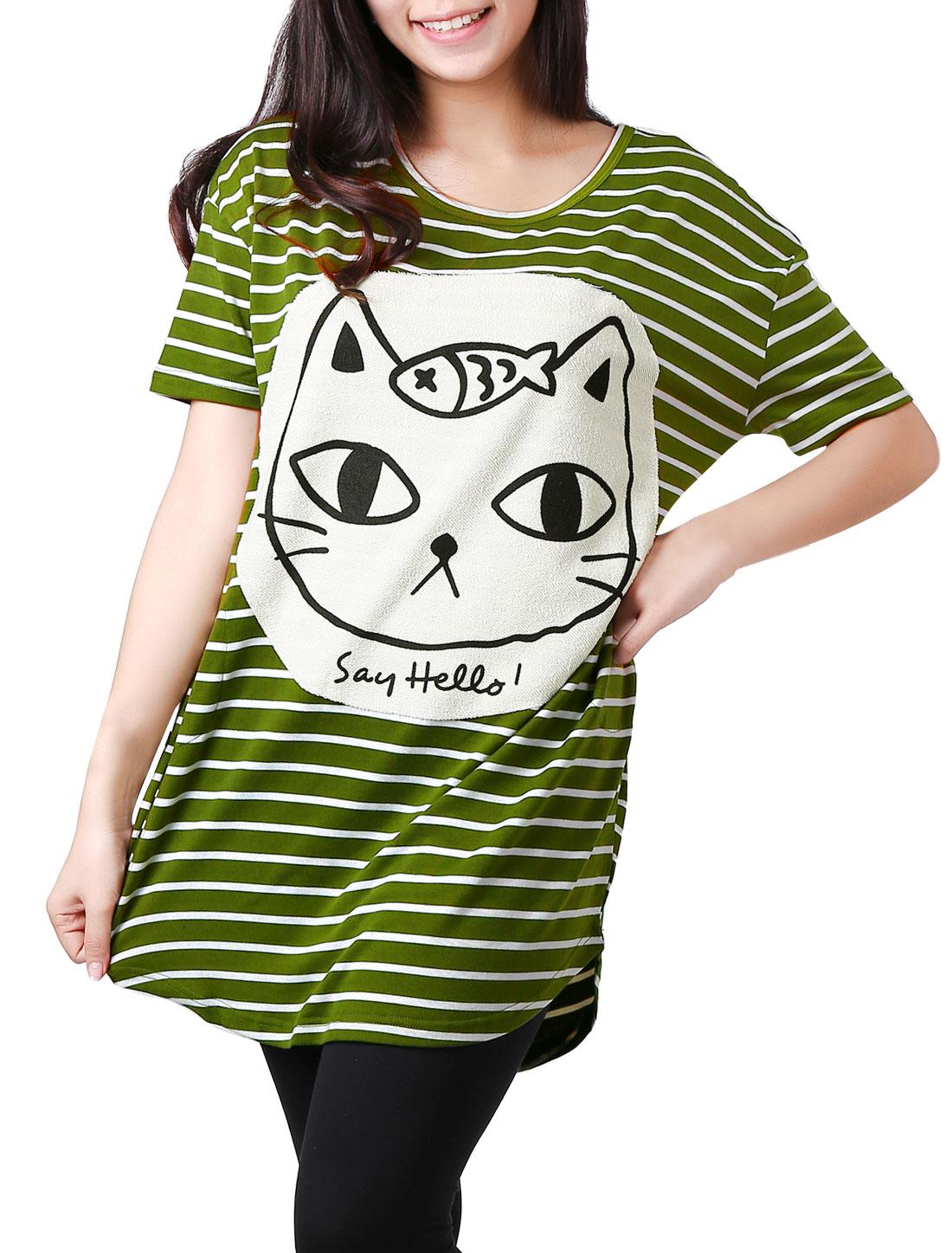Women Two Tone Stripes Cartoon Cat Applique Tunic Shirt Green XS