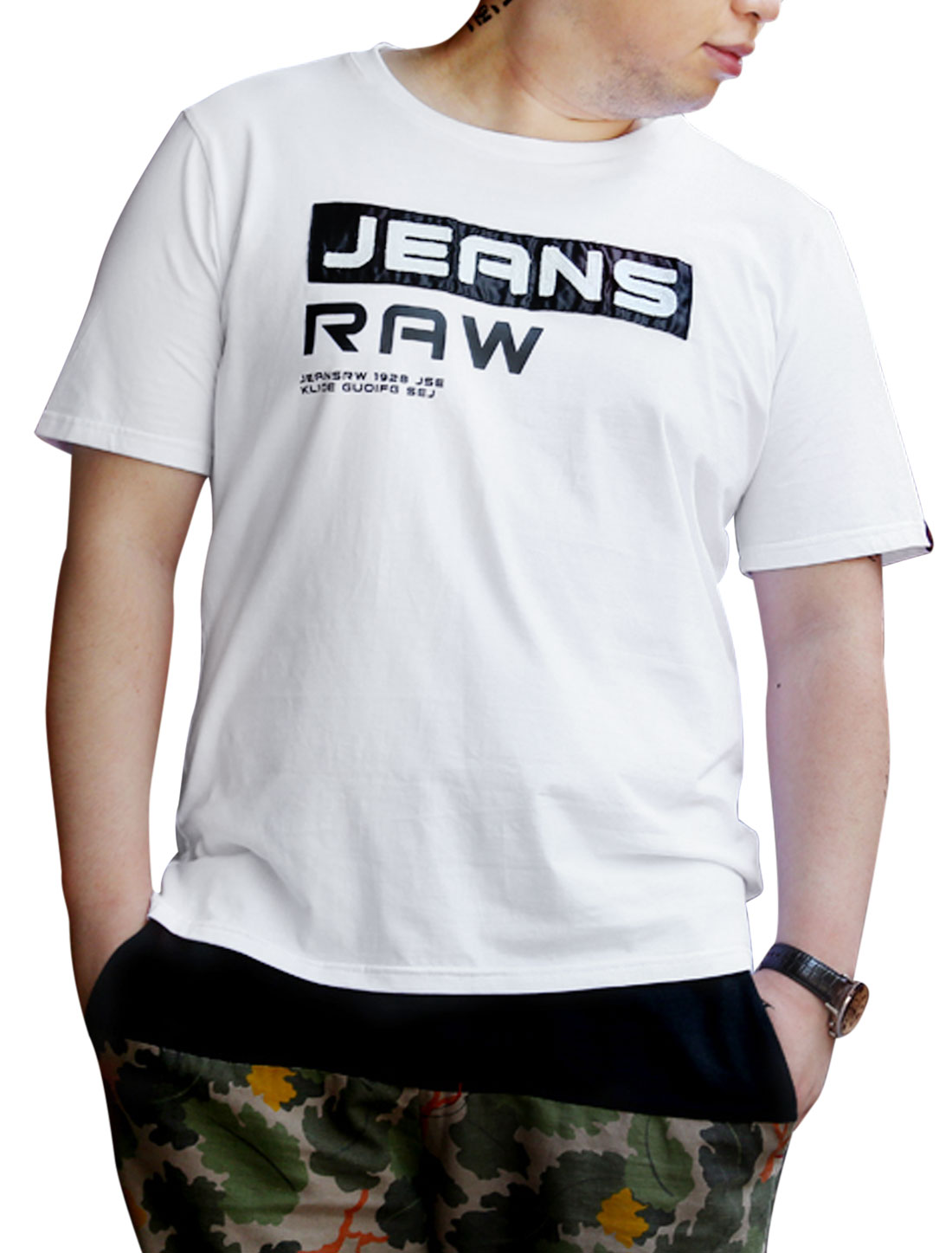Men Round Neck Pullover Stylish Design T-Shirt White M