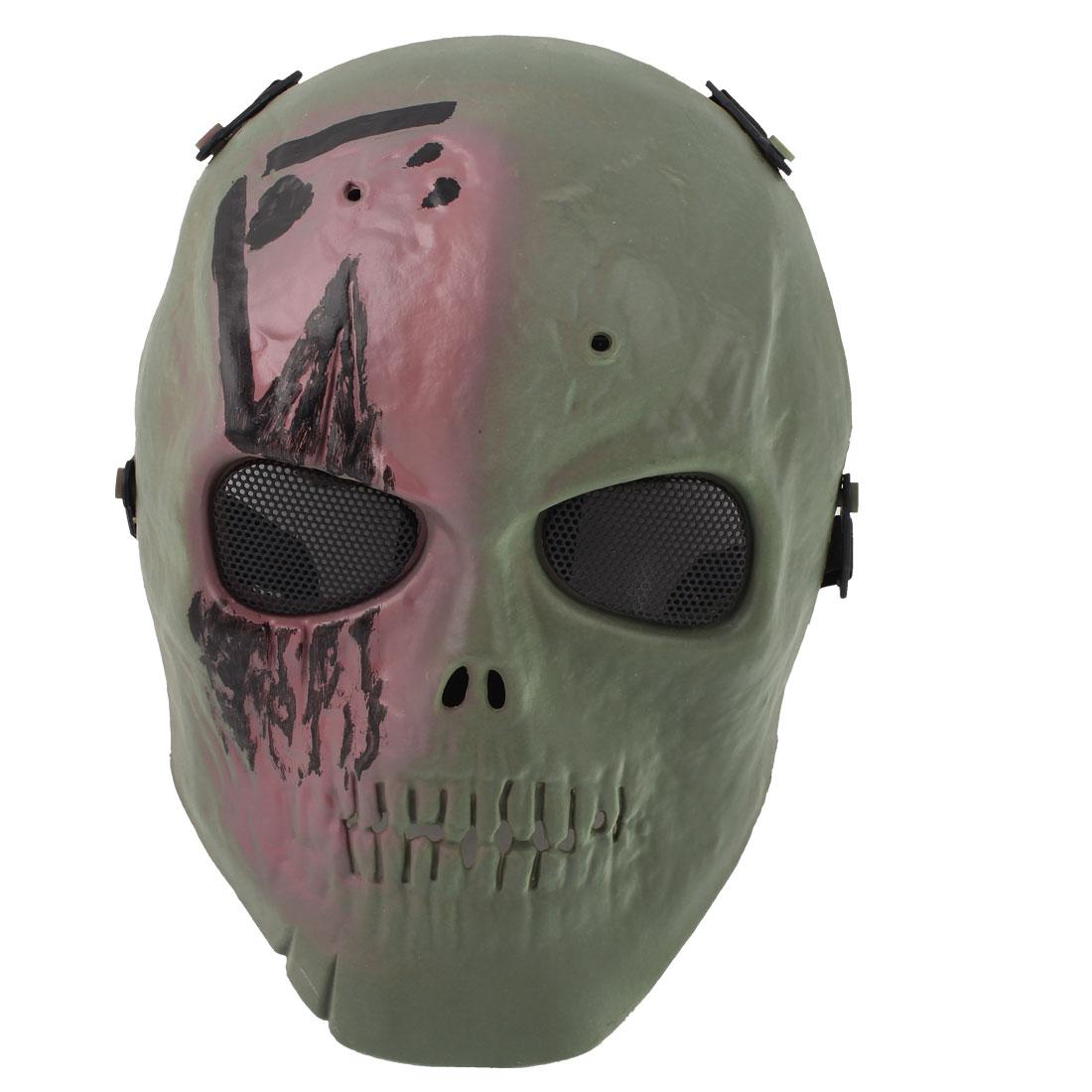 Adult Halloween Party Plastic Skull Design Adjustable Belt Wargame Mask