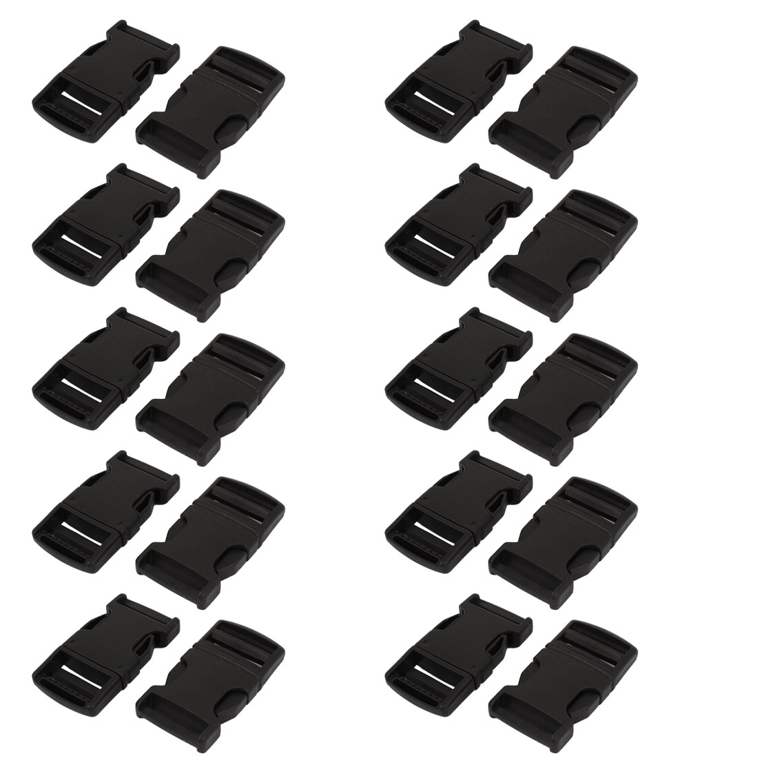30 Pcs 25mm Belt Wide Luggage Safety Quick Release Buckles Black