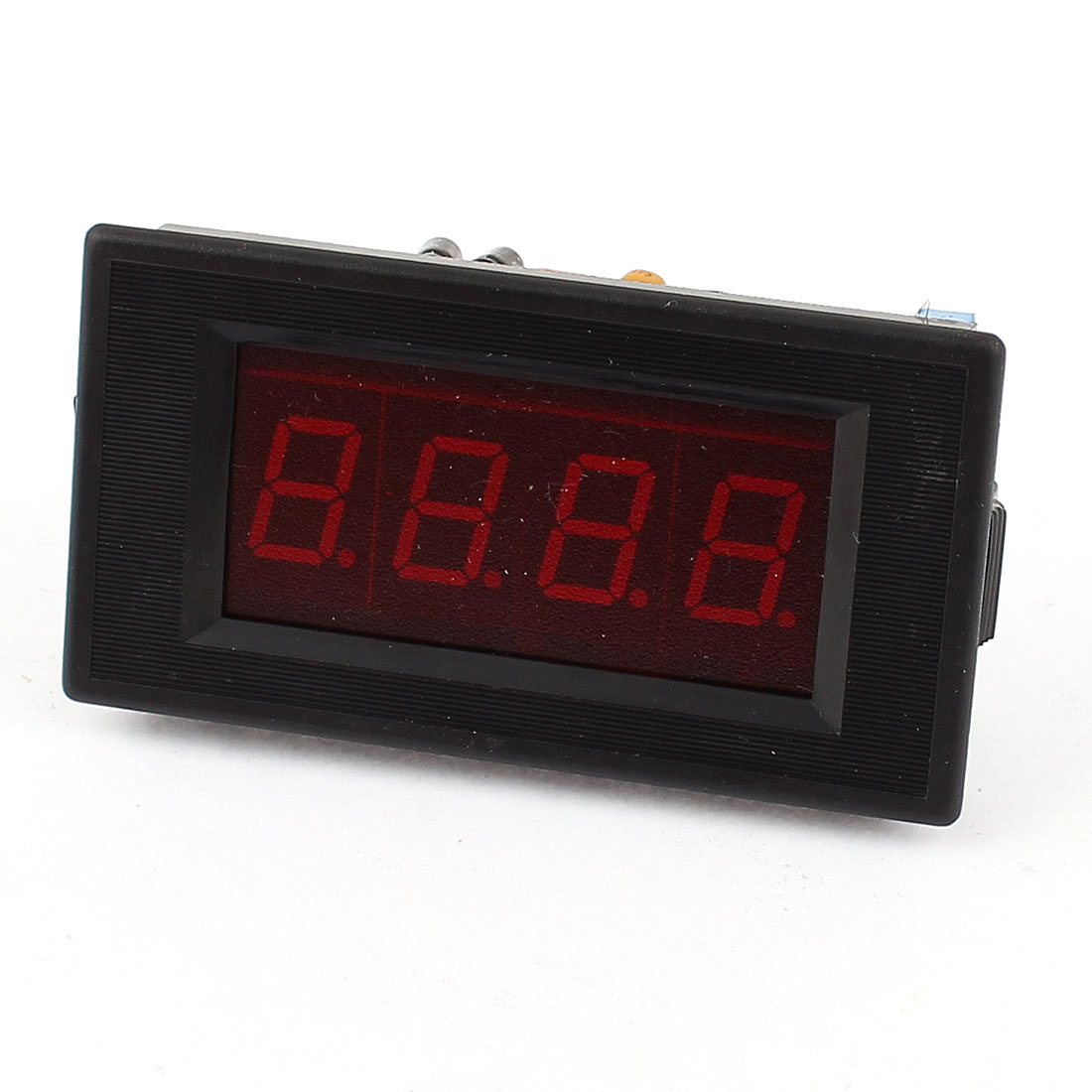 DC 50V 3 1/2 Digits Red LED Waterproof Voltmeter Wire Leads
