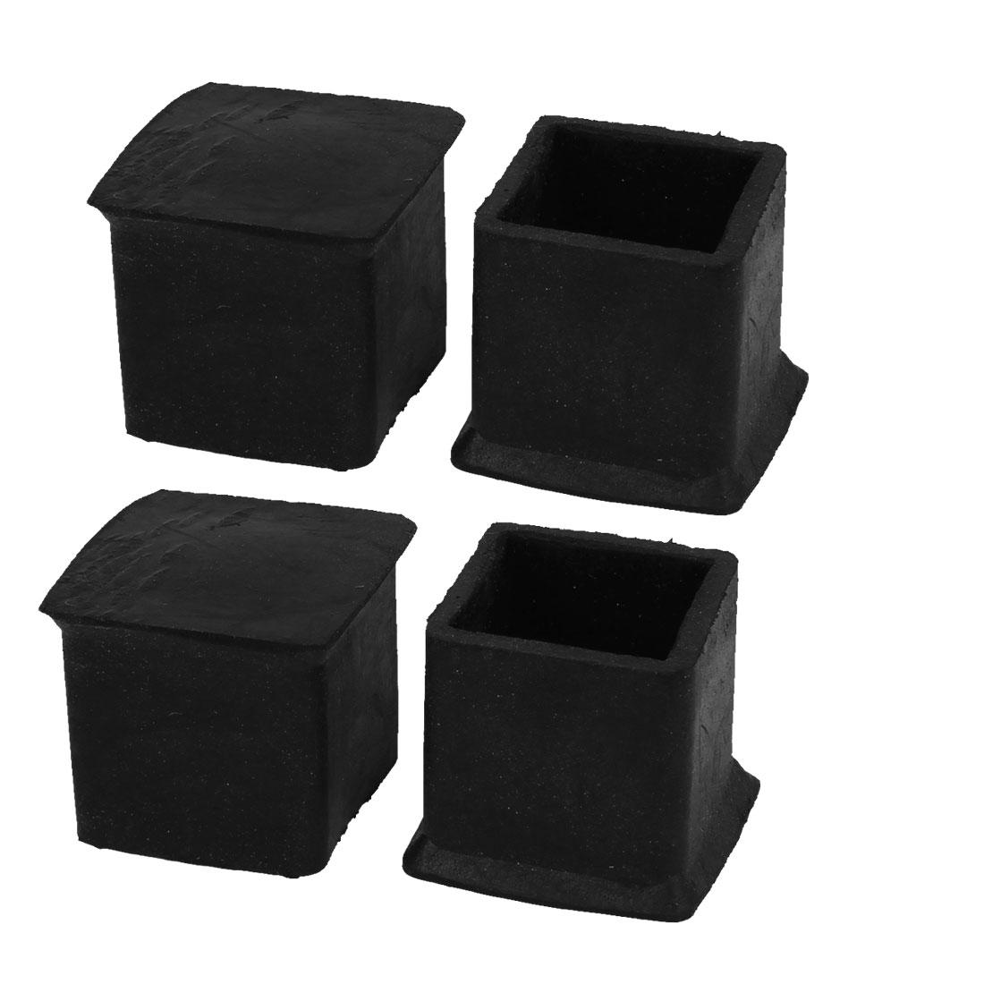 4 Pcs Furniture Table Desk Foot Leg Black Rubber Covers 32 x 32 x 30mm