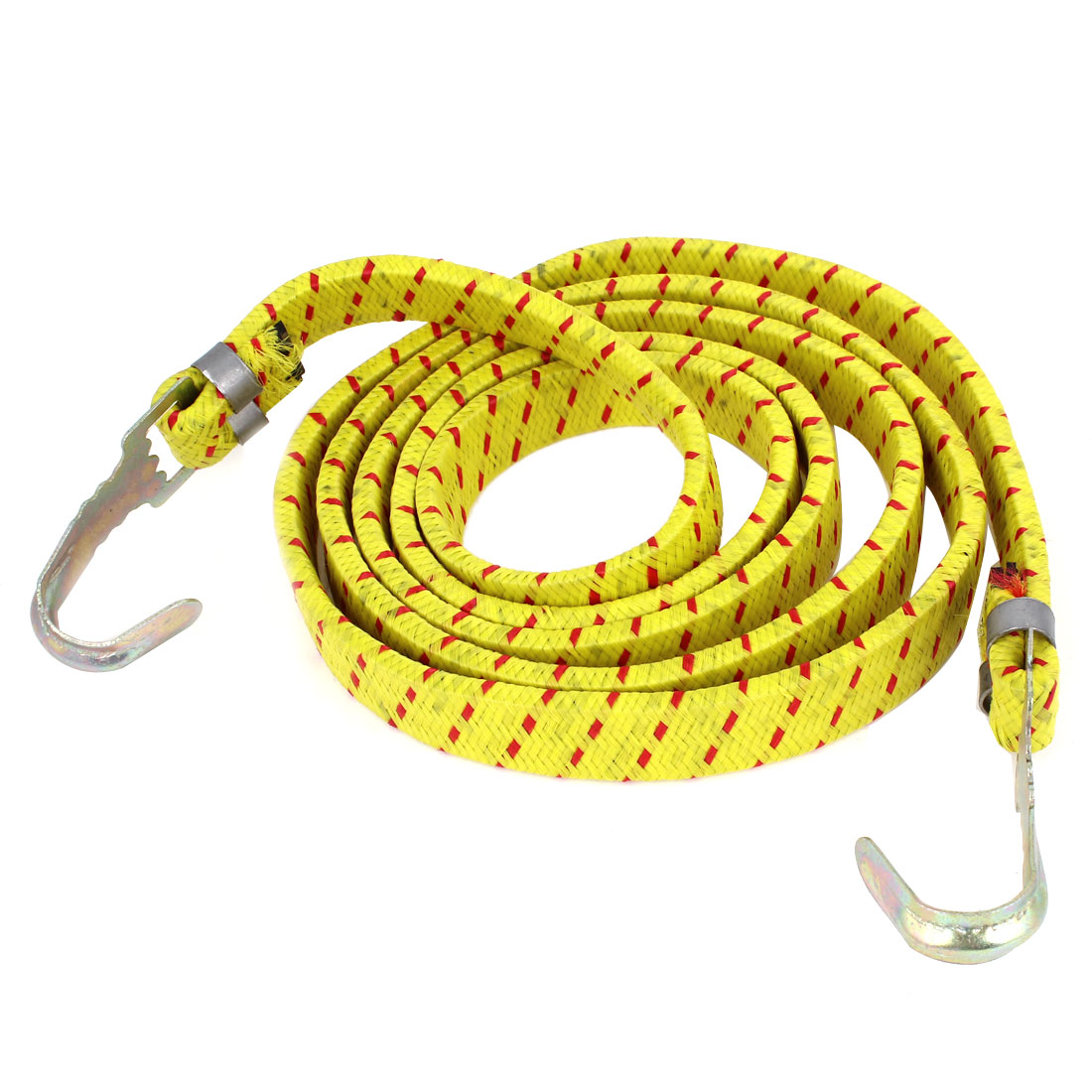 Bicycle Metal Hook Flat Stretchy Luggage Cord Rope Yellow Red 5ft 153cm