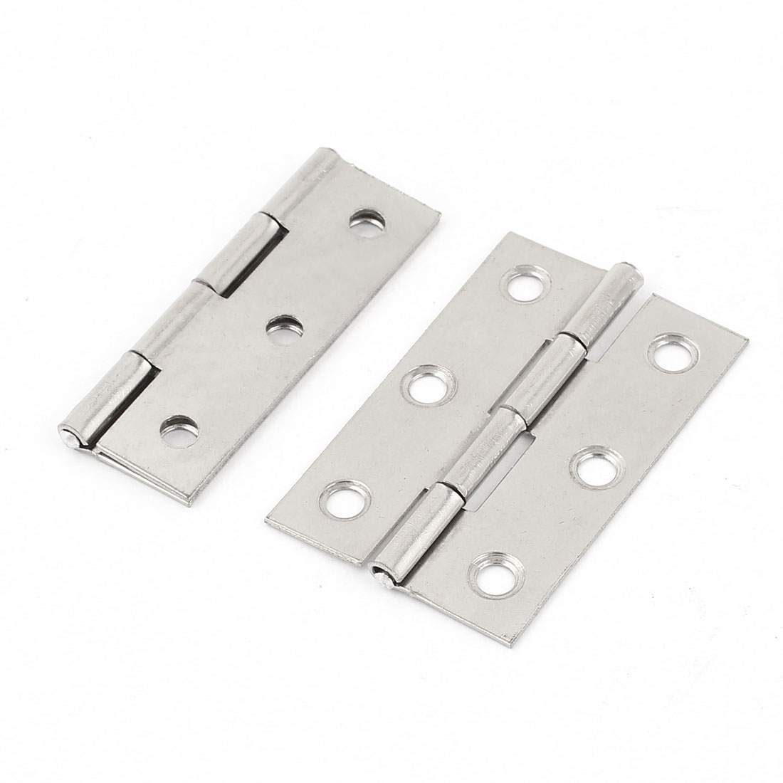 "2 Pcs Silver Tone 2.2"" Length Foldable Cupboard Closet Door Hinges Hardware"
