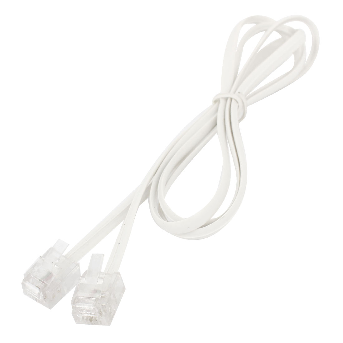White 6P2C RJ11 M/M 4mm Width Telephone Straight Line Cable Cord Lead 6.6Ft