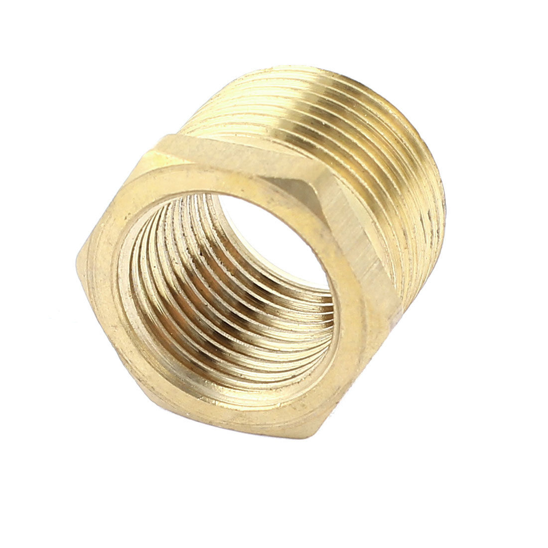 Gold Tone 1/2PT x 3/4PT F/M Thread Brass Hex Reducing Bushing Pipe Adapter