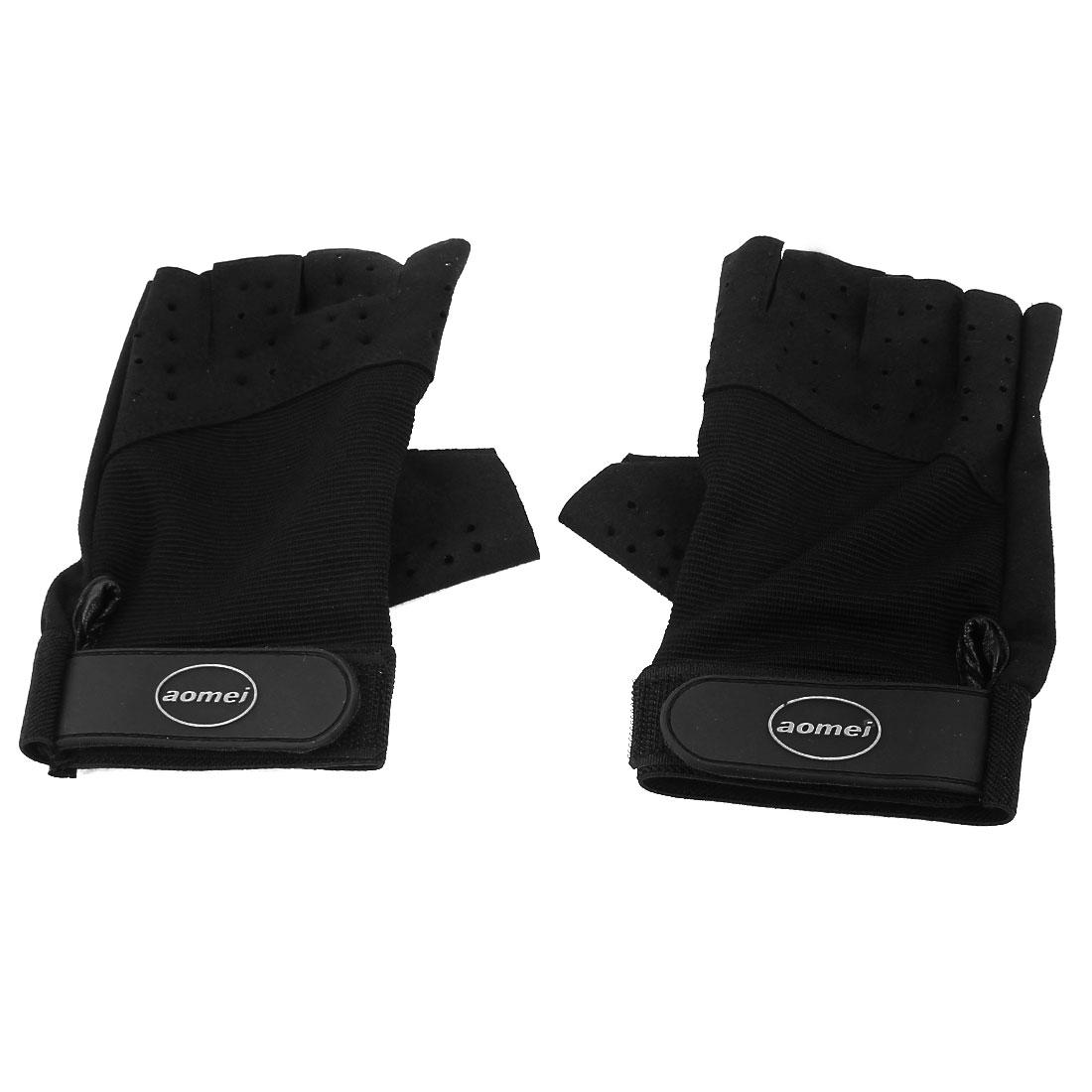 2 Pcs Black Elastic Wrist Length Fingerless Gloves Support for Unisex