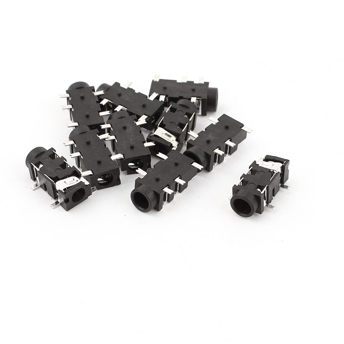 10 Pcs 5-Pin 3.5mm Female Headphone Stereo Socket Jack Connector Black