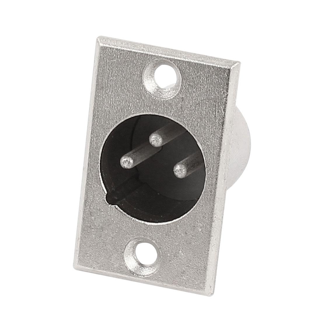 Rectangle Silver Tone Metal 3-Pin XLR Male Microphone Speaker Socket