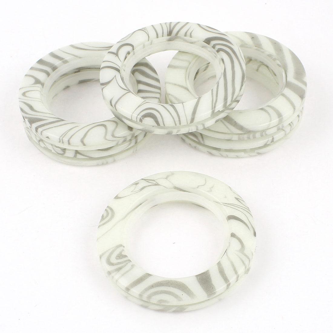6 Pcs Round Shape Gray White Plastic Curtain Rings 44mm Inner Dia