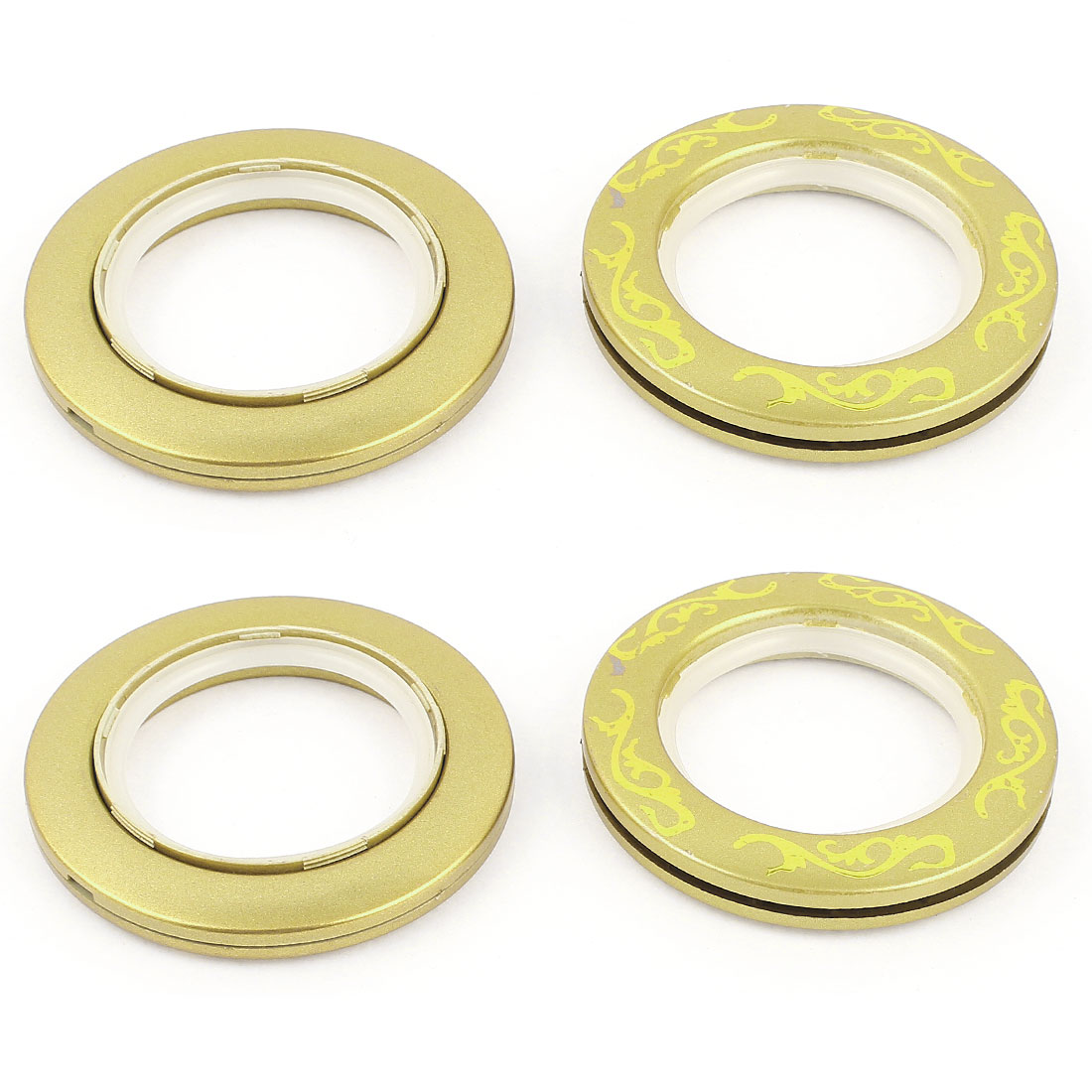 Home Flower Print Round Shape Curtain Rings 44mm Inside Dia Yellow 6 Pcs
