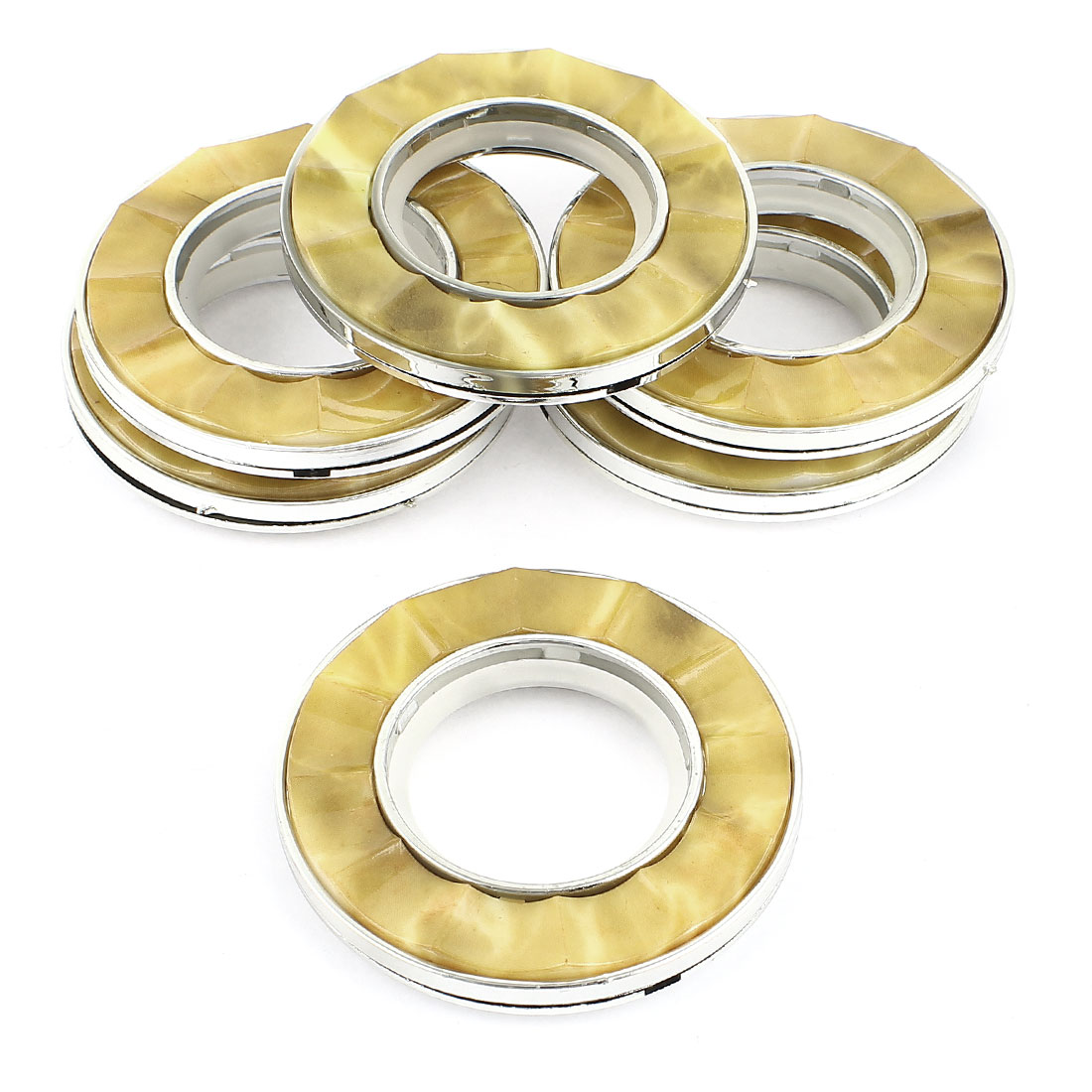 Household Window Curtain Rings Silver Tone Yellow 40mm Inner Dia 6 Pcs