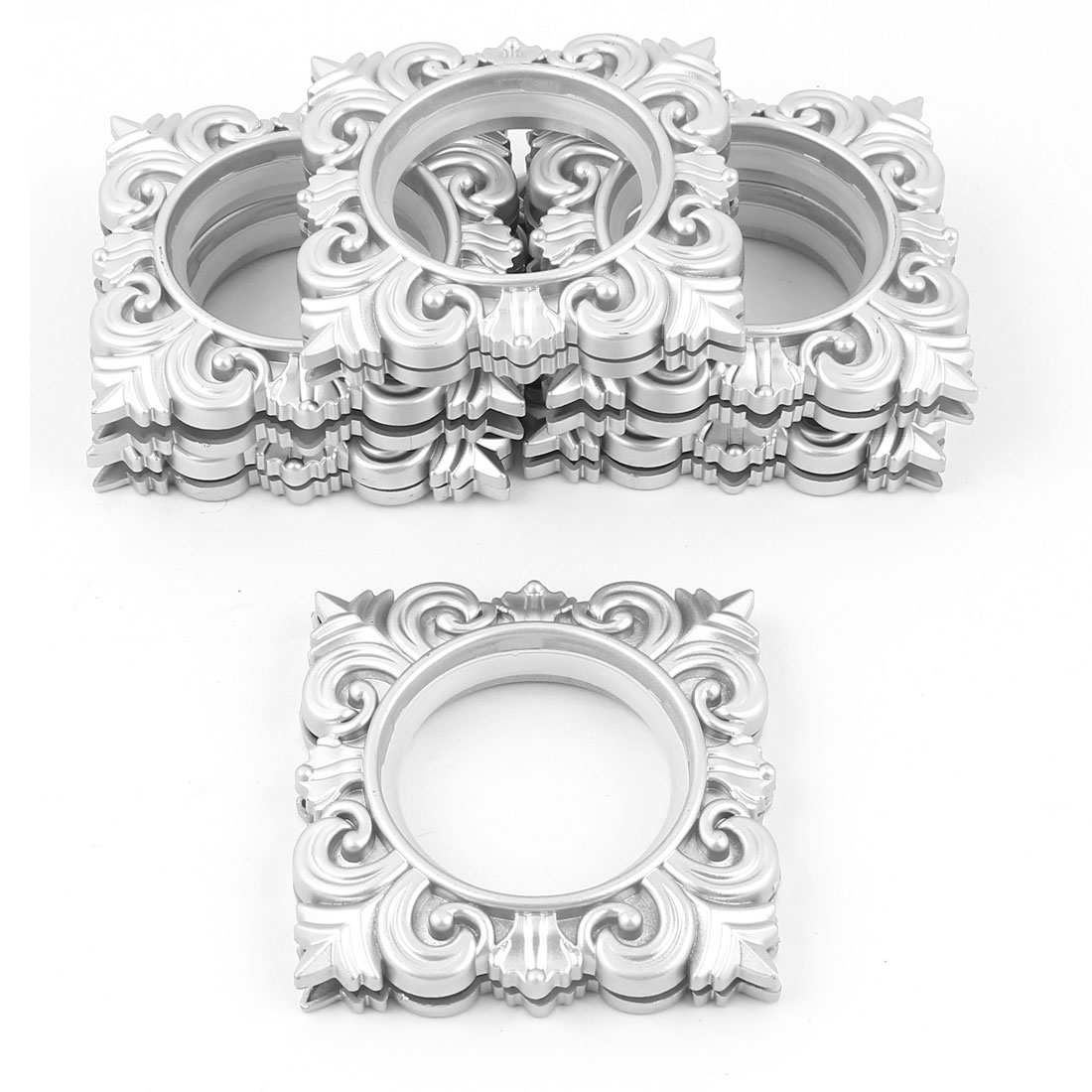 Household Square Shaped Curtain Rings Silver Tone 44mm Inner Dia 6 Pcs