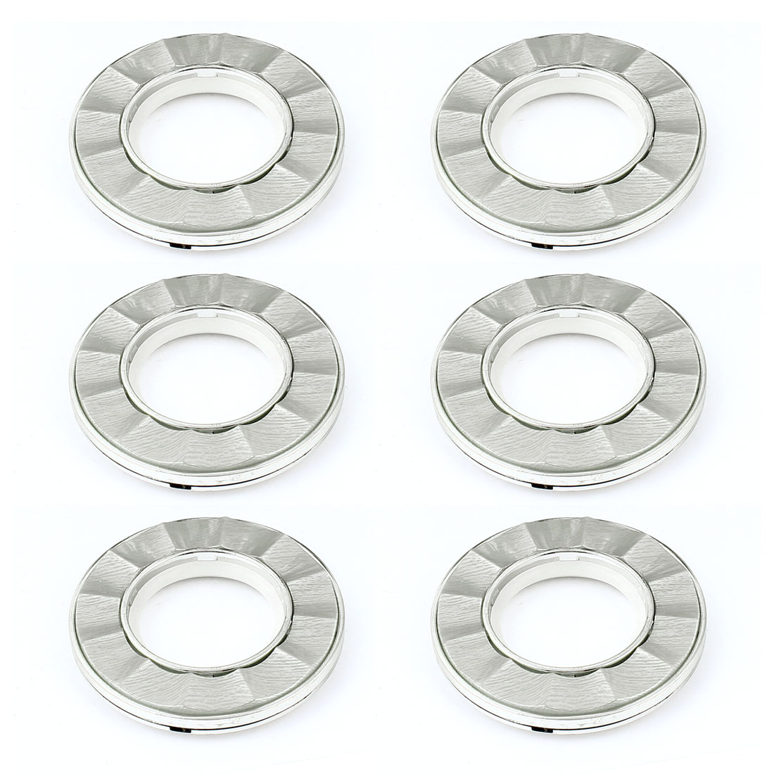 6 Pcs 41mm Inside Dia Silver Tone Plastic Round Curtain Rings