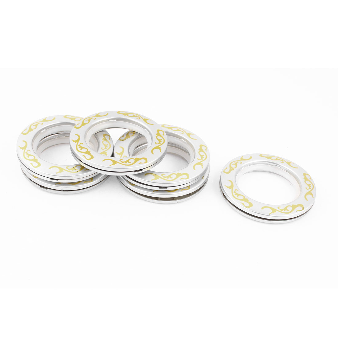 Household Decor Window Curtain Rings Silver Tone 44mm Inner Dia 6 Pcs