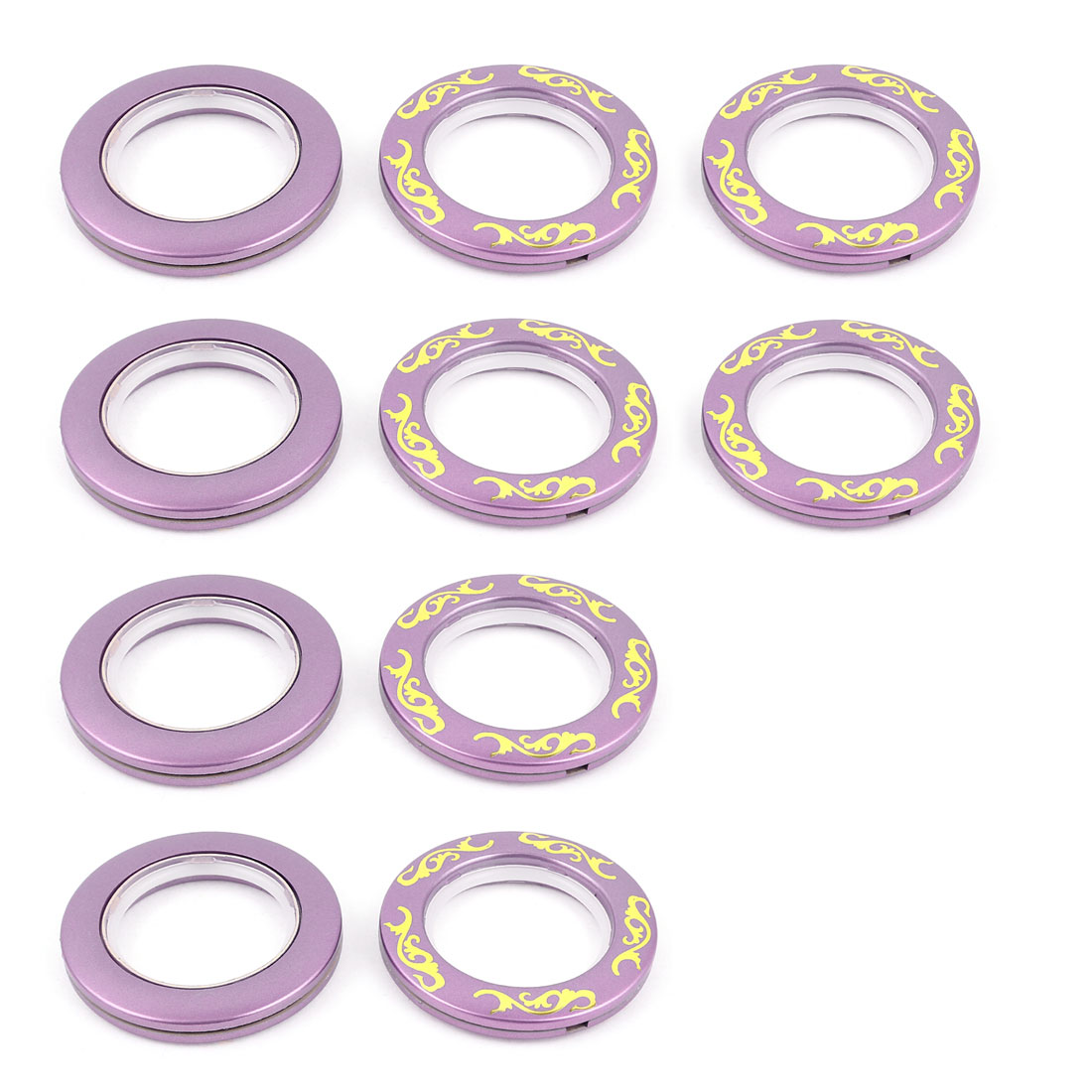 Purple Round Shaped Floral Print Window Curtain Rings 45mm Inside Dia 12 Pcs