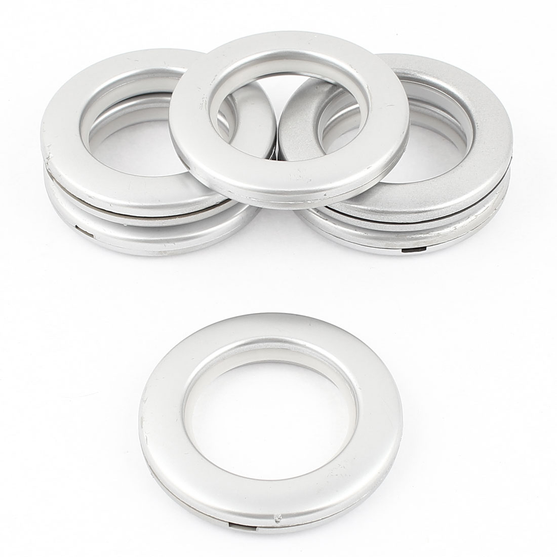 Silver Tone Round Shape Curtain Rings 41mm Inside Diameter 6 Pcs