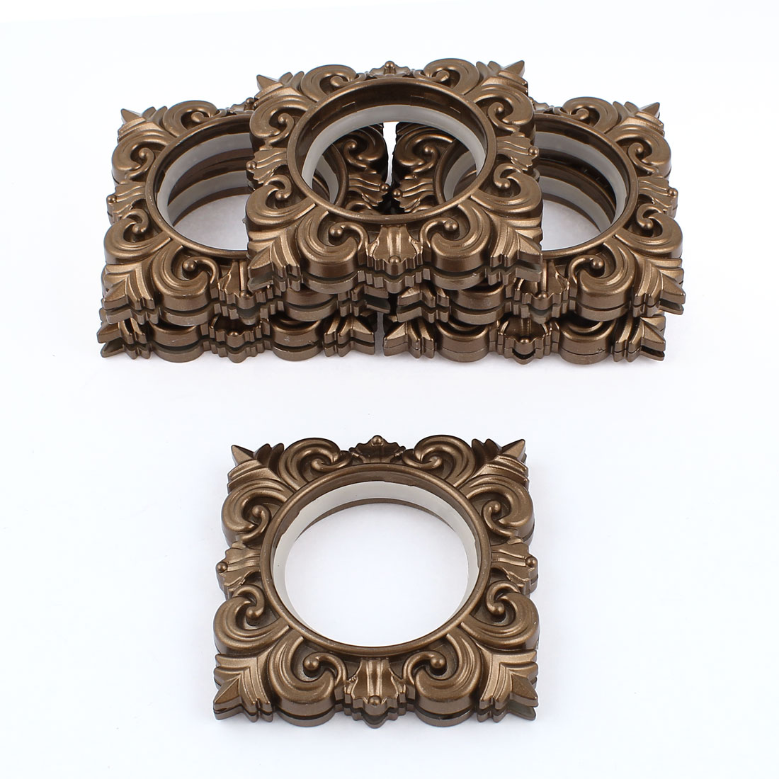 6 Pcs Coffee Color Square Plastic Rings 45mm Inner Dia for Eyelet Curtain