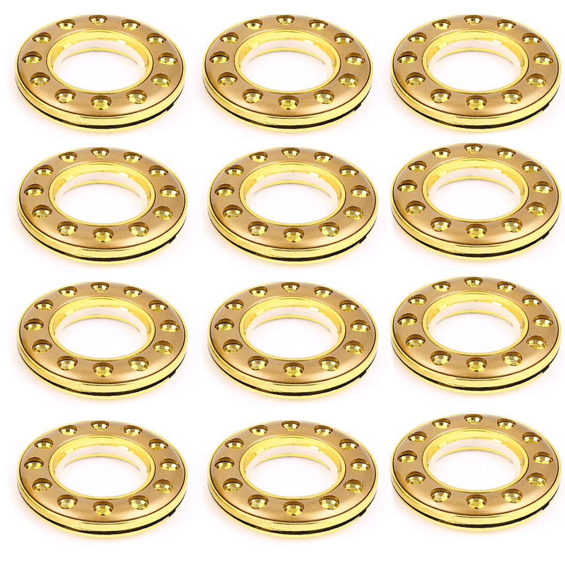 Flower Hole Print Window Curtain Rings Gold Tone 41mm Inner Dia 12 Pcs