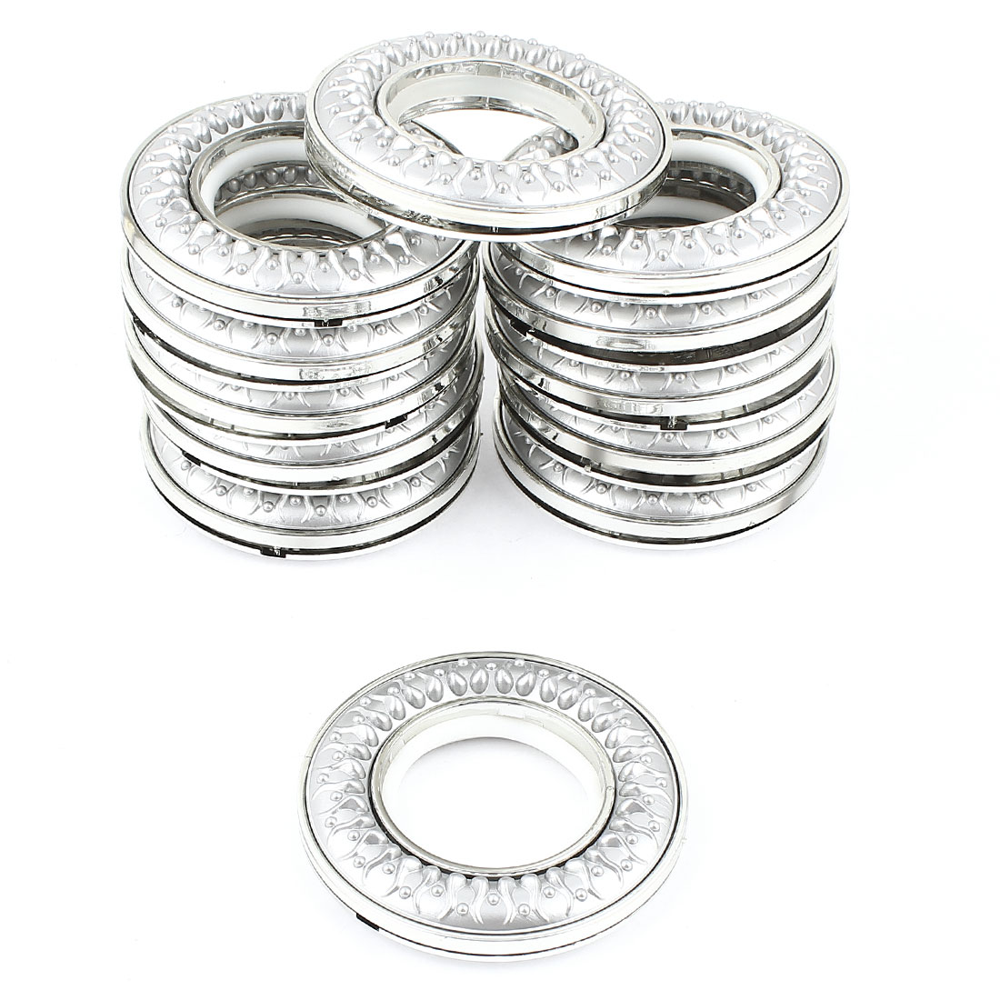 12pcs Silver Tone Round Shape Plastic Ring for Eyelet Curtain Drapery inner Dia. 40mm