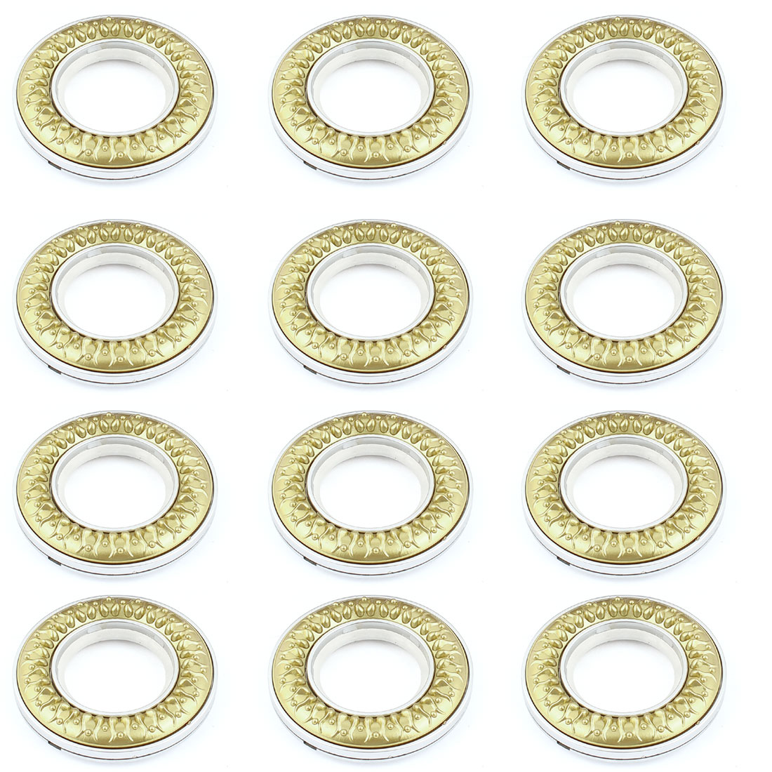 12 Pcs 41mm Inner Dia Silver Gold Tone Plastic Curtain Rings
