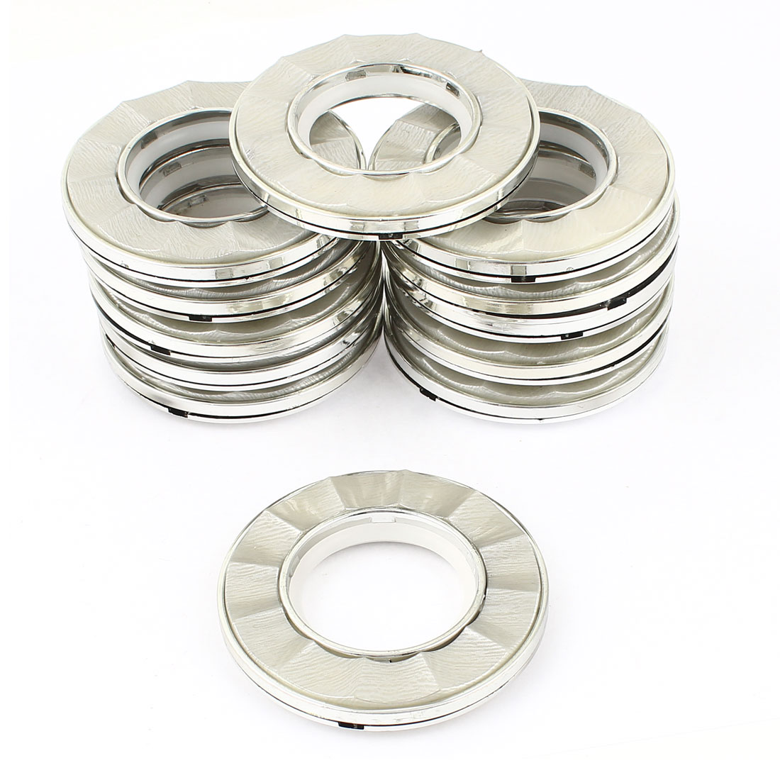 12 Pcs Silver Tone Plastic Ring 40mm Inner Dia. for Eyelet Curtain Drapery