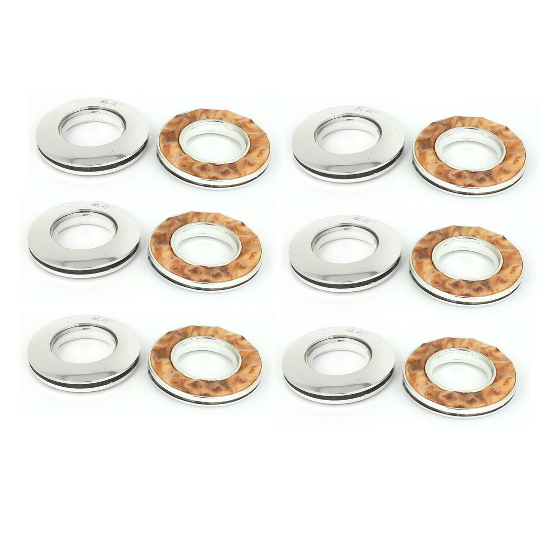 12 Pcs Round Shape Silver Tone Pink Plastic Curtain Rings 40mm Inner Dia