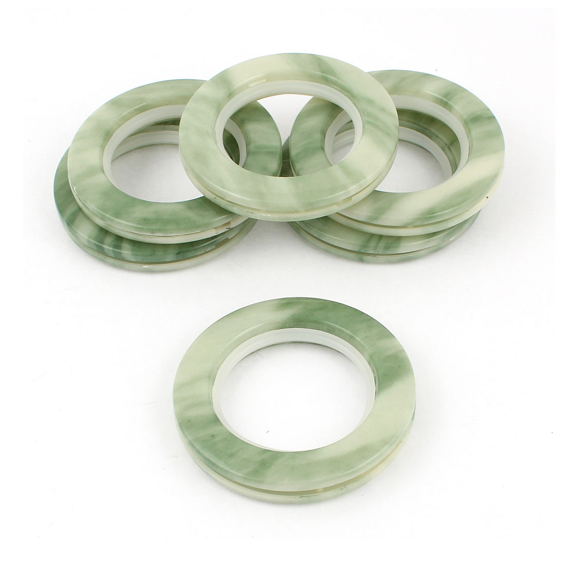 6 Pcs Round Shape Green Plastic Curtain Rings 44mm Inner Dia