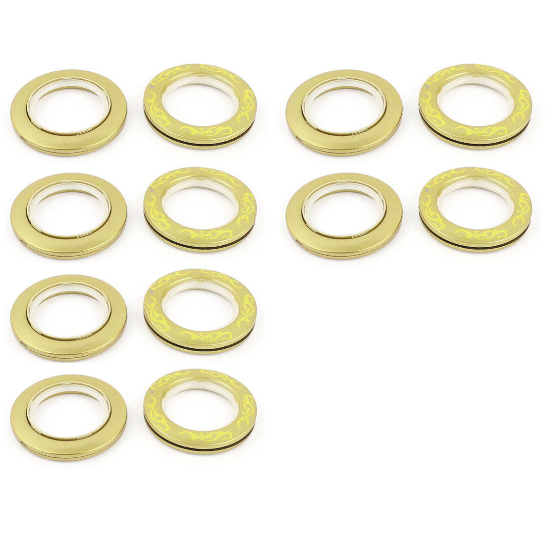 12 Pcs Window Decor Rings Yellow for 44mm Inner Dia Eyelet Curtain Drapery