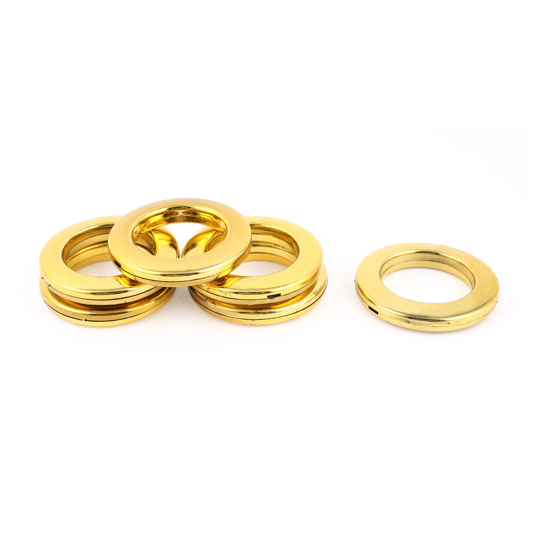 6 Pcs 41mm Inner Dia Gold Tone Plastic Window Curtain Rings