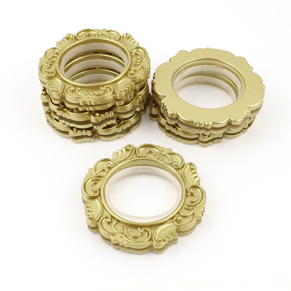 Home Gold Tone Floral Pattern Round Curtain Rings 45mm Diameter 6 Pieces