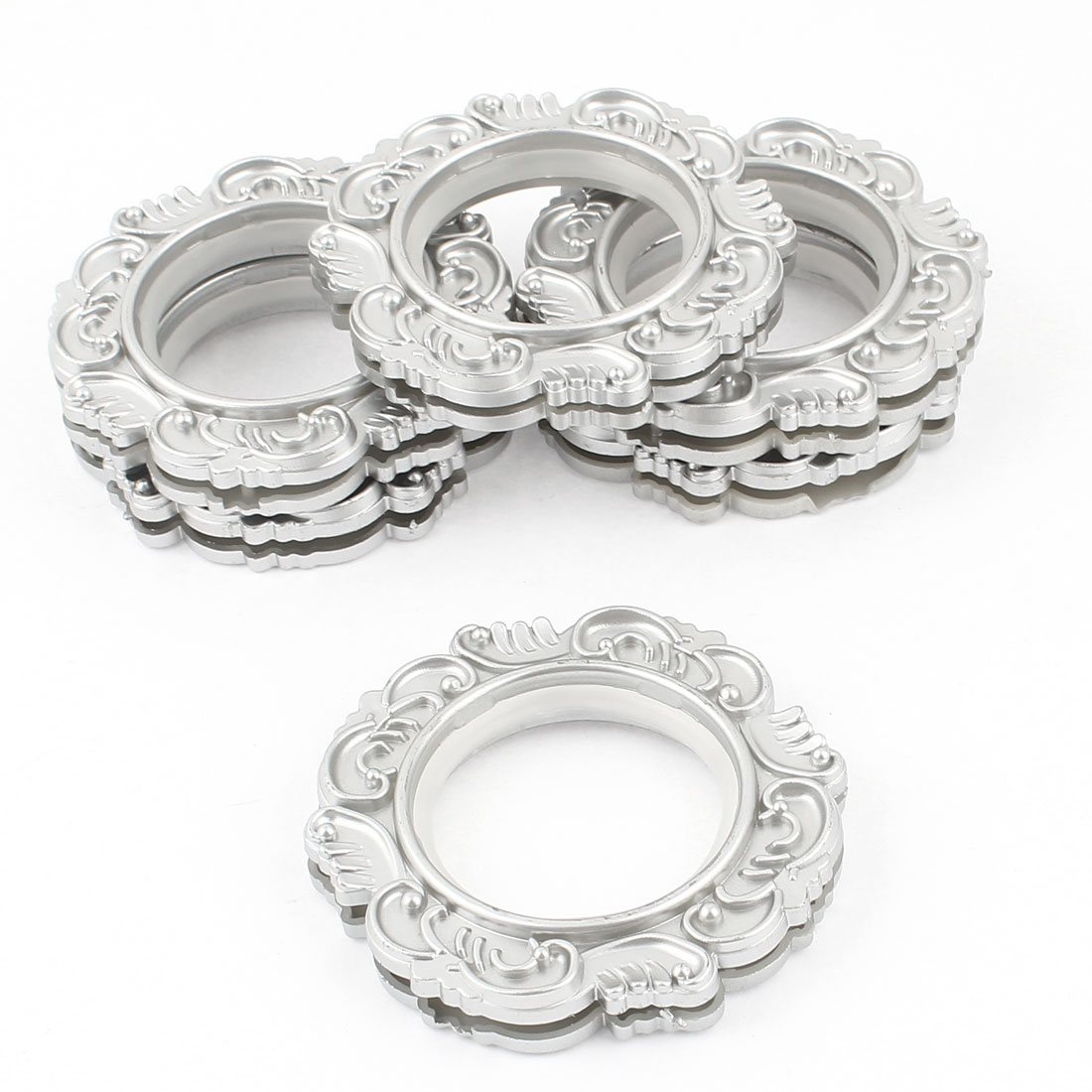 6 Pcs Flower Print 45mm Inner Diameter Round Silver Tone Window Curtain Rings