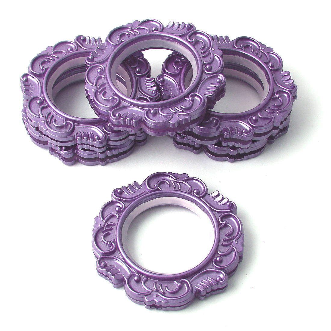 Household Purple Foral Print Plastic Round Curtain Rings 45mm Inside Dia 6 Pcs