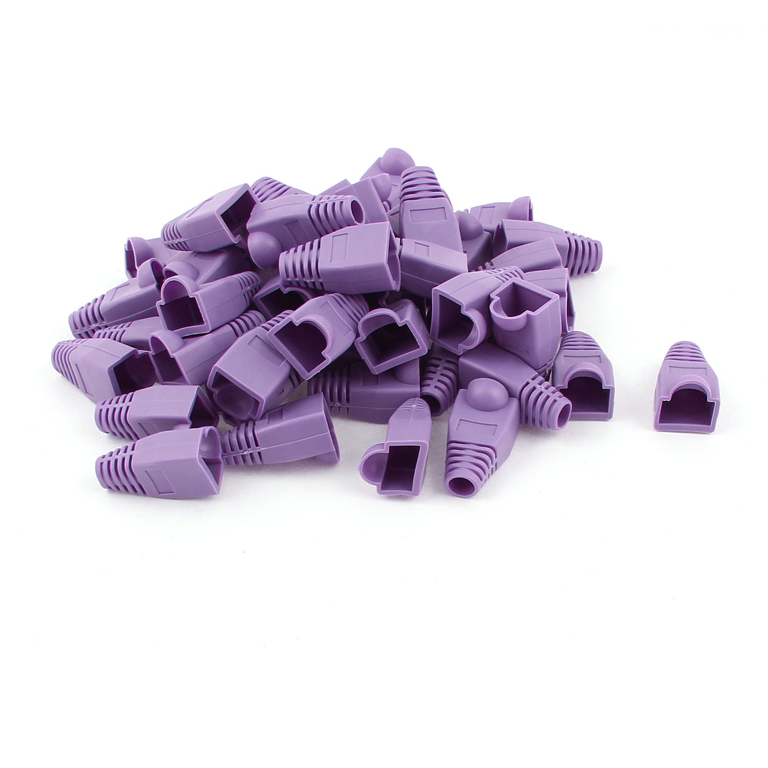 50 Pcs Computer Parts Purple Rubber RJ45 Connectors Boots Cover Cap