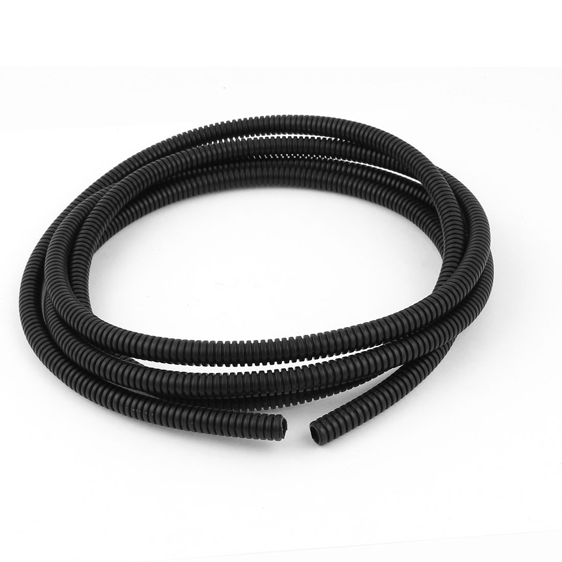 Black Plastic 10mmx7mm Corrugated Wire Tubing Convoluted Hose Tube 6.5Feet Long