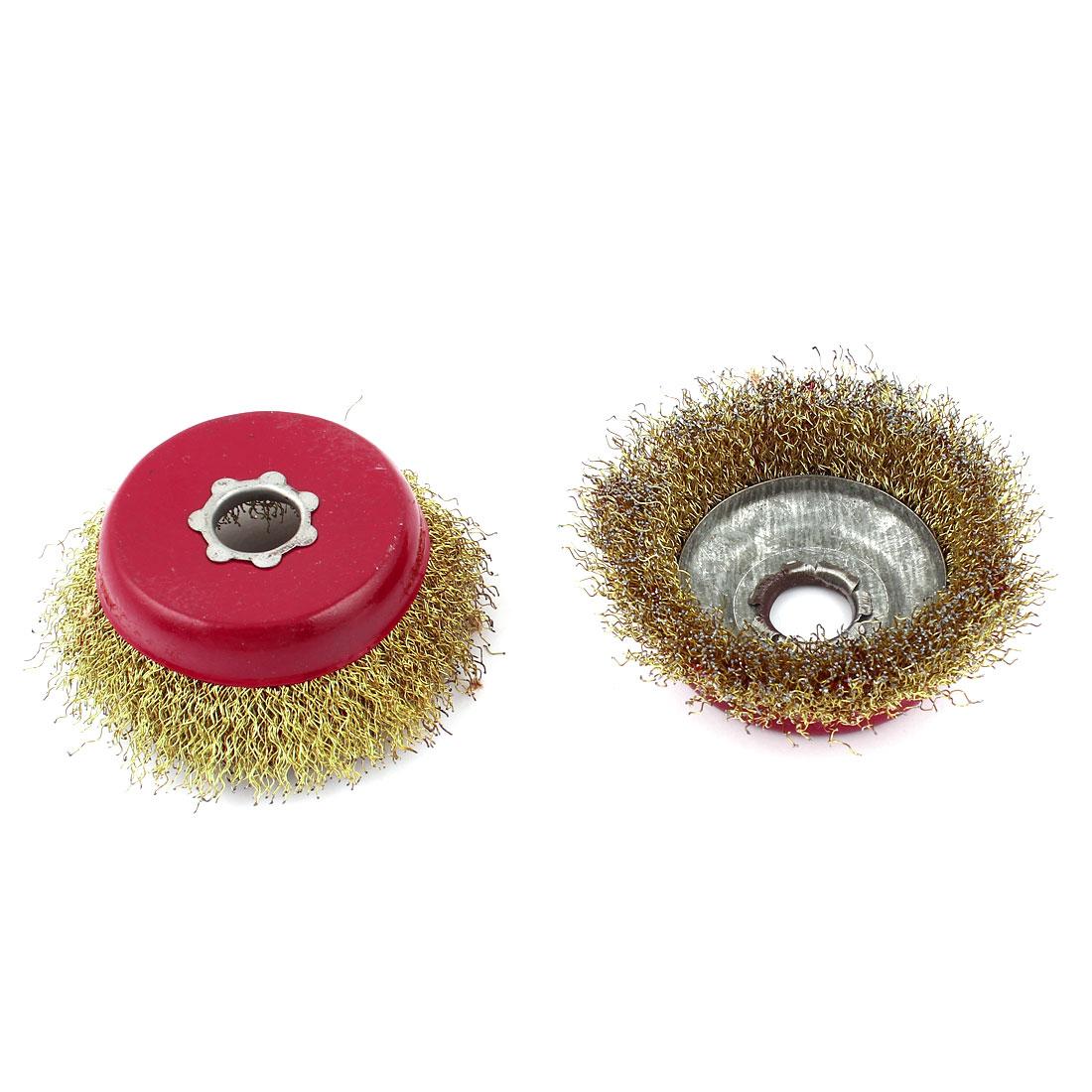 2 Pcs 9cm Bristle Brush Gold Tone Red for 16mm Diameter Shank forDremel Rotary Tool