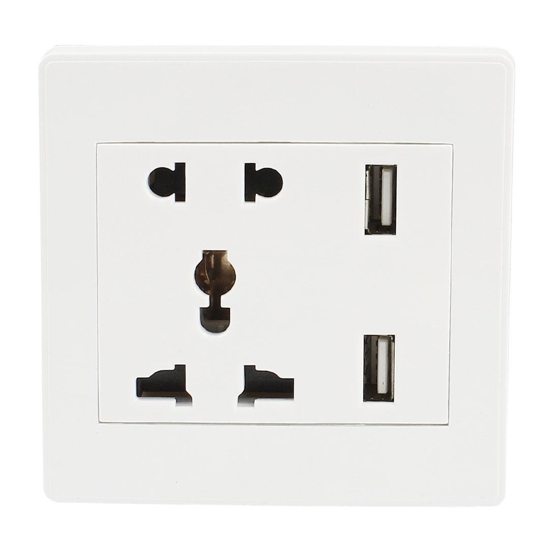 Universal White Plastic Shell 2 x USB Charging Wall Socket Plate AC 110-250V 10A