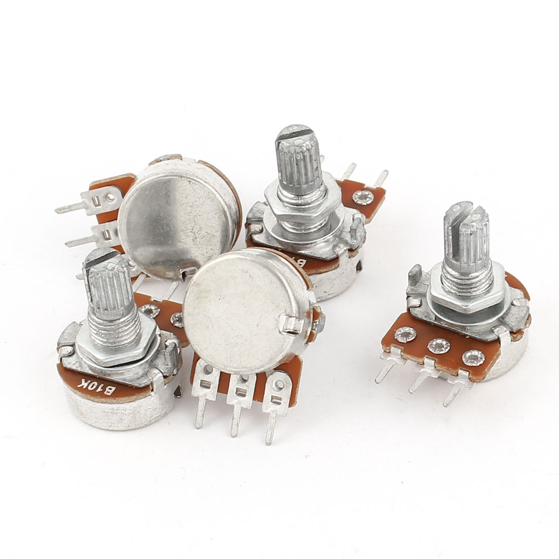 5 Pcs B10K 10K Ohm 3Pin Terminals Single Linear Rotary Taper Potentiometers
