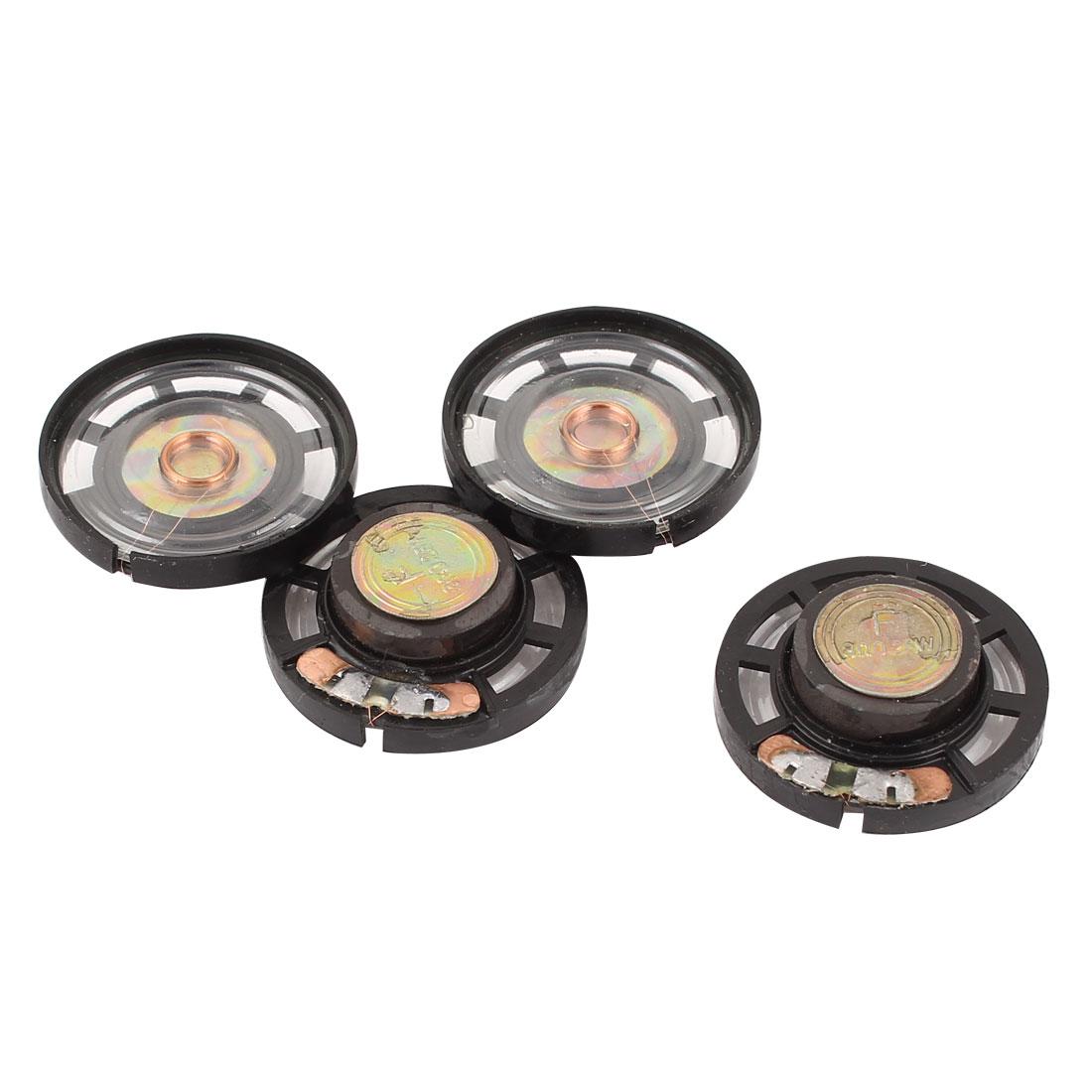 4 Pcs 0.25Watt 8Ohm 28mm Round Metal Shell Magnet Electronic Speaker Loudspeaker