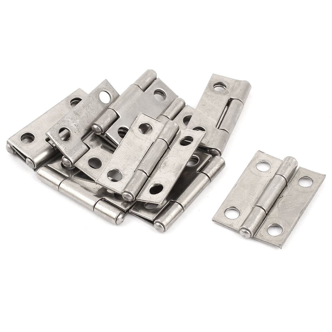"10 Pcs Home Hardware 27mm 1"" Long Metal Butt Hinge Silver Tone for Drawer Door"