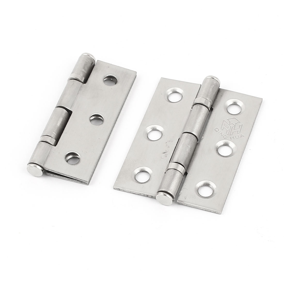 "2 Pieces Hardware 50mm 2"" Long Metal Butt Hinge Silver Tone for Home Drawer Door"