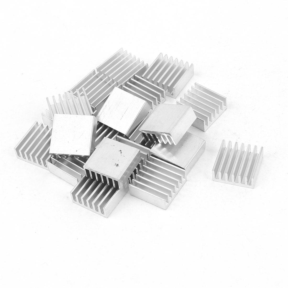 20 Pcs Aluminum Heatsinks Radiator Cooling Fin Cooler 14mmx14mmx6mm Silver Tone